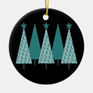 Christmas Trees - Teal Ribbon Uterine Cancer Ceramic Ornament