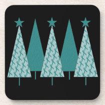 Christmas Trees - Teal Ribbon Uterine Cancer Coaster
