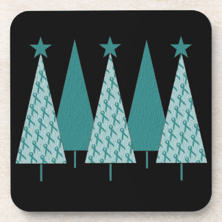 Christmas Trees - Teal Ribbon Uterine Cancer Coaster