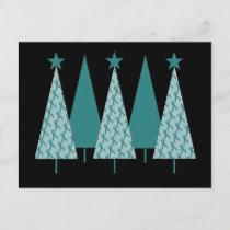 Christmas Trees - Teal Ribbon Uterine Cancer Holiday Postcard