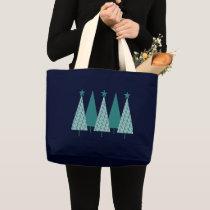 Christmas Trees - Teal Ribbon Uterine Cancer Large Tote Bag