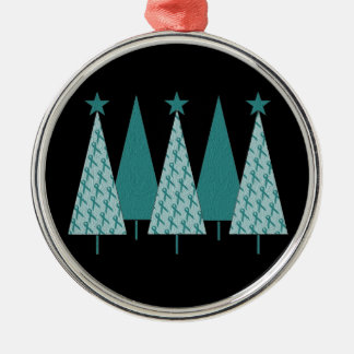 Christmas Trees - Teal Ribbon Uterine Cancer Metal Ornament