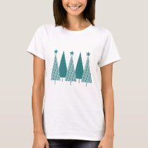 Christmas Trees - Teal Ribbon Uterine Cancer T-Shirt
