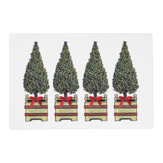 Christmas Trees Topiary Classic Elegant Holiday Placemat