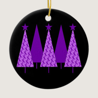 Christmas Trees - Violet Ribbon Ceramic Ornament