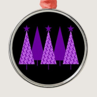 Christmas Trees - Violet Ribbon Metal Ornament