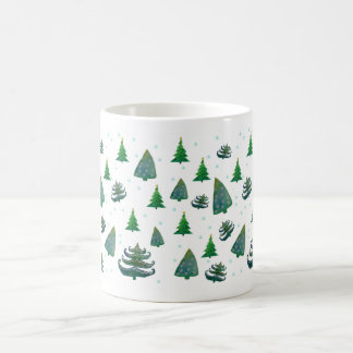 Christmas Trees Watercolor Art  White Mug