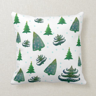 Christmas Trees Watercolor Art Wrapping Paper Throw Pillow