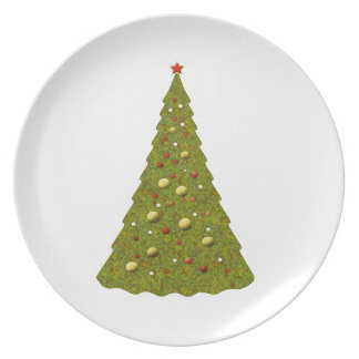 Christmas Trees White Holiday Plate