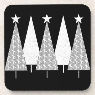 Christmas Trees - White Ribbon Coaster
