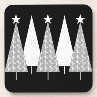 Christmas Trees - White Ribbon Coaster
