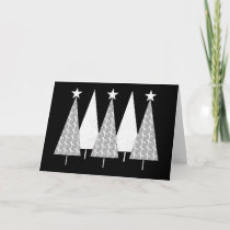 Christmas Trees - White Ribbon Holiday Card
