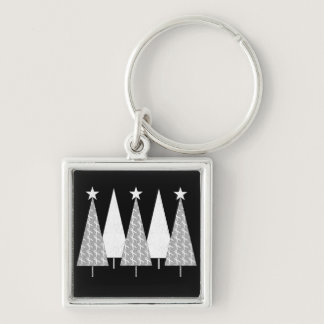 Christmas Trees - White Ribbon Keychain