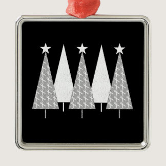 Christmas Trees - White Ribbon Metal Ornament