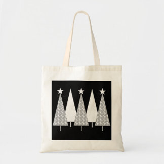 Christmas Trees - White Ribbon Tote Bag