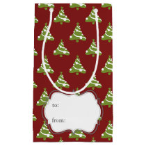 christmas trees winter holiday pattern small gift bag