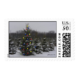 christmas trees with lights stamp