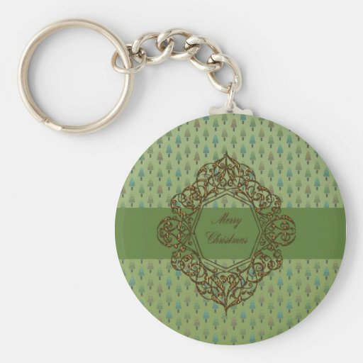 Christmas Trees with Metallic Gold design Keychain