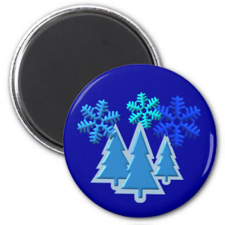 Christmas Trees with Snow Flakes Design 2 Inch Round Magnet