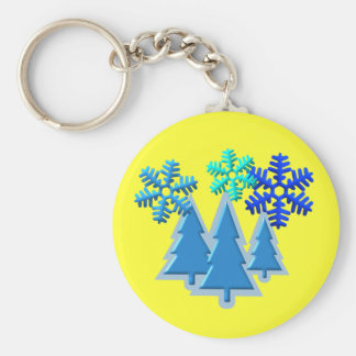 Christmas Trees with Snow Flakes Design Basic Round Button Keychain