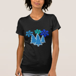 Christmas Trees with Snow Flakes Design Tee Shirts