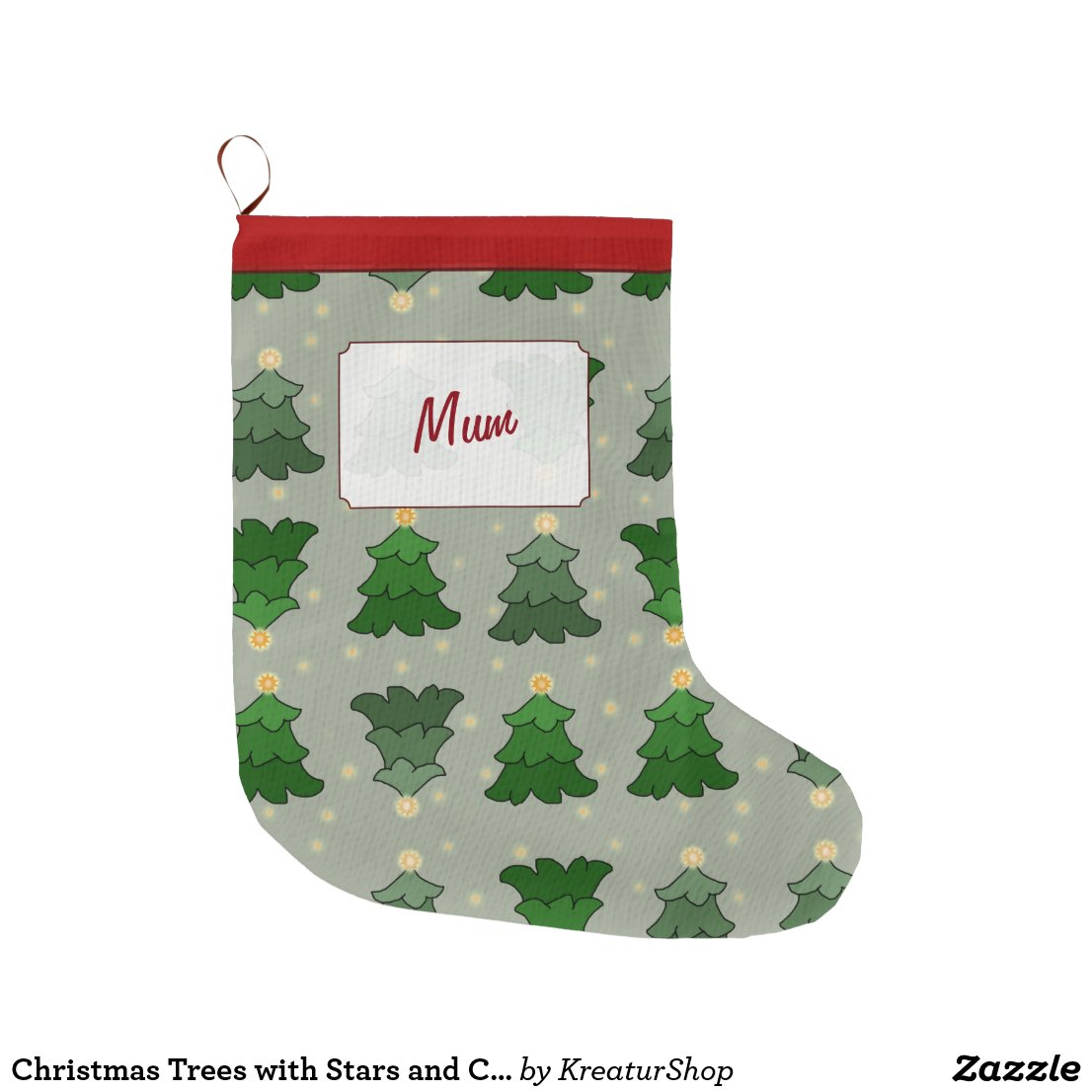 Christmas Trees with Stars and Custom Name