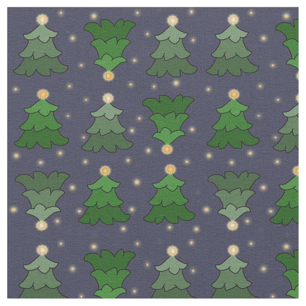 Christmas Trees with Stars on Custom Blue