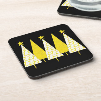 Christmas Trees - Yellow Ribbon Beverage Coaster