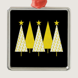 Christmas Trees - Yellow Ribbon Metal Ornament