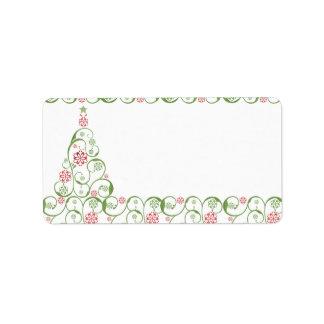 Christmas TreeSnowflake Swirl Christmas Label Custom Address Label