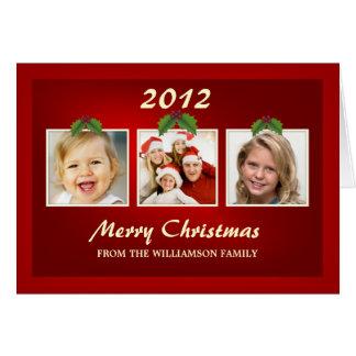 Christmas Tri-Photo Template Holiday GreetingCards Card