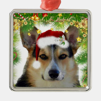 Christmas Tricolor Corgi Metal Ornament