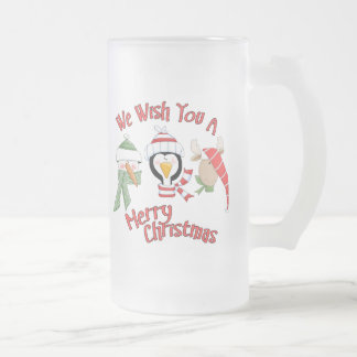 Christmas Trio Animal Wishes Frosted Glass Beer Mug