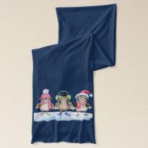 Christmas trio funny Owls watercolor Scarf