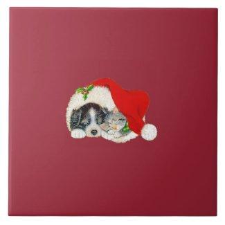 Christmas Trivet Puppy and Kitten