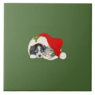 Christmas Trivet Puppy and Kitten Tiles