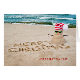 Christmas tropical beach snowman with hat card