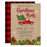 Christmas Truck A Merry Little Christmas Party Invitation