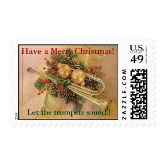 christmas trumpet, Have a Merry Christmas! Postage Stamp