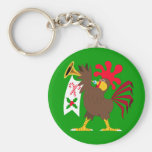 Christmas Trumpeting Rooster Basic Round Button Keychain