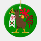 Christmas Trumpeting Rooster Ceramic Ornament