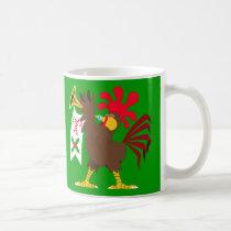Christmas Trumpeting Rooster Coffee Mug