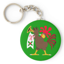 Christmas Trumpeting Rooster Keychain