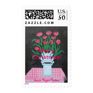 Christmas Tulips Postage Stamps