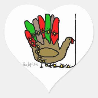 Christmas Turkey Heart Sticker