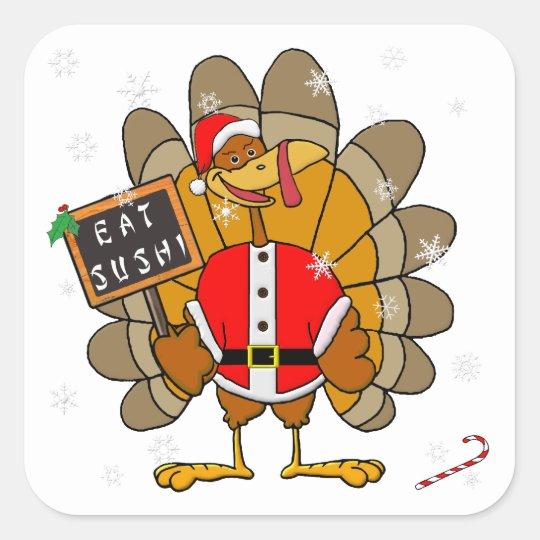Christmas Turkey Square Sticker