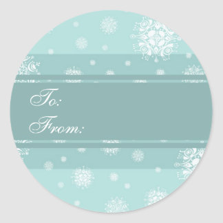 Christmas Turquoise Snowflakes Gift Tags Stickers