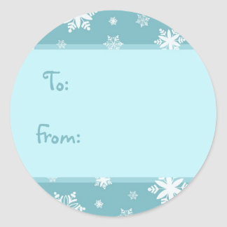 Christmas Turquoise Snowflakes Gift Tags Round Sticker