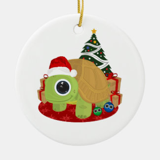 Christmas - Turtle Double-Sided Ceramic Round Christmas Ornament