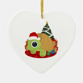 Christmas - Turtle Double-Sided Heart Ceramic Christmas Ornament